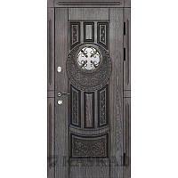 Двери входные с ковкой и стеклом уличные  Круг Каскад серии Прайм. Входная дверь  для  дома и квартиры