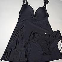 Купальное платье танкини с закрытой спиной Sisianna 39212 черное на 46 48 50 52 54 размер, фото 2