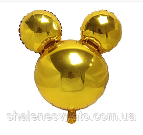 Фольгированный шар Микки золотой.Размер 63*69 см.