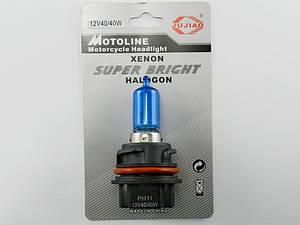 Лампа фары Honda  AF-35/48/51, 40/40W, цоколь PH11 пластмассовый (синяя)