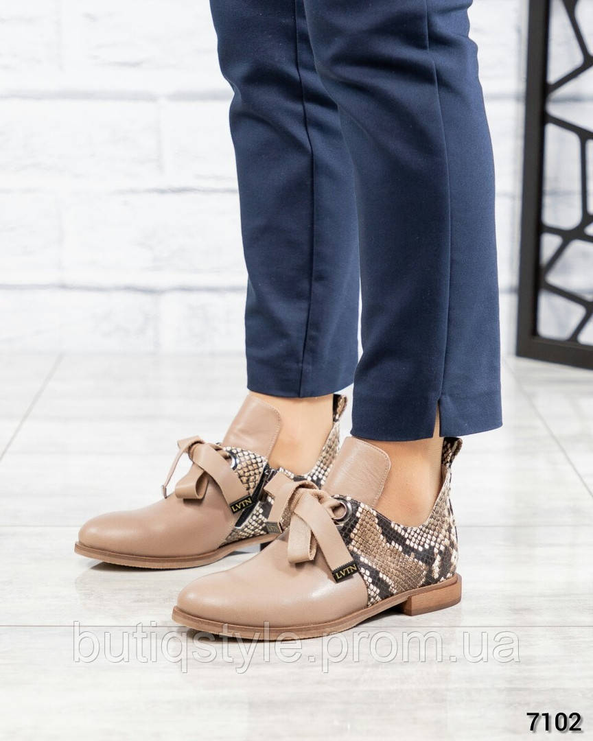 Женские туфли латте+рептилия натуральная кожа на завязках