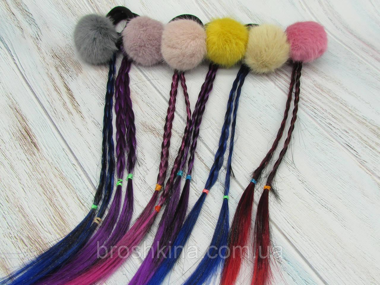 Резинки для волос меховые Ø4 см с косичками 12 шт/уп.