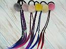 Резинки для волос меховые Ø4 см с косичками 12 шт/уп., фото 3