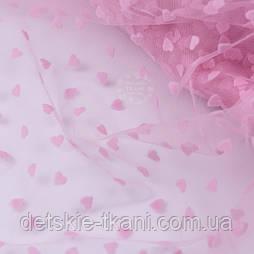 Відріз фатину рожевого кольору з однаковими оксамитовими сердечками, 0.5 метра (50*150 см)