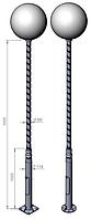 Опора для уличного освещения 3 м (витая, широкая) столб фонарный