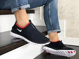 Мужские кроссовки темно синие с белым и красным Free Run 9201