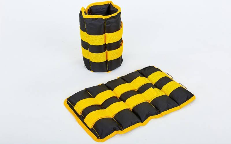 Утяжелители-манжеты для рук и ног Zelart UR ZA-2072-5 (2 x 2,5кг) (верх-полиэстер, наполнитель-песок, желтый)