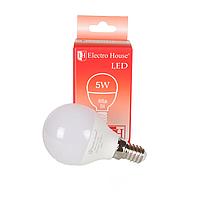 "ElectroHouse LED лампа ""шар"" E27/4100K/5W 450Lm /180° G45"