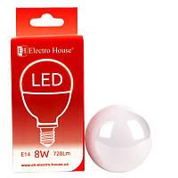 "ElectroHouse LED лампа ""шар"" E14/4100K/8W 720Lm /180° P45"