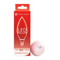 ElectroHouse LED лампа «свеча» E14/4100K/8W 720Lm /180° C37