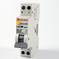 ElectroHouse ДИФЕРЕН Автомат 25А 1P+N(1 модуль) 30mA 6kA 230-240V IP20