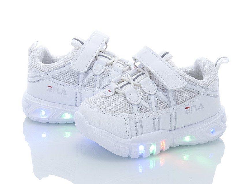 Белые кеды  для детей с подсветкой
