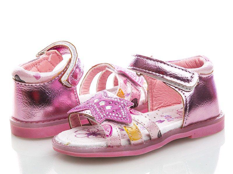 Розовые босоножки для девочек на липучке