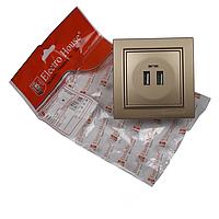 ElectroHouse Розетка USB (2 порти) Розкішно золотий Enzo 2A IP22