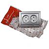 ElectroHouse Розетка подвійна без заземлення Срібний камінь Enzo 16A IP22