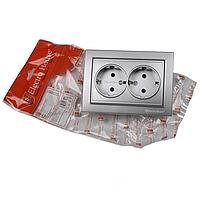 ElectroHouse Розетка двойная с заземлением Серебряный камень Enzo 16A IP22