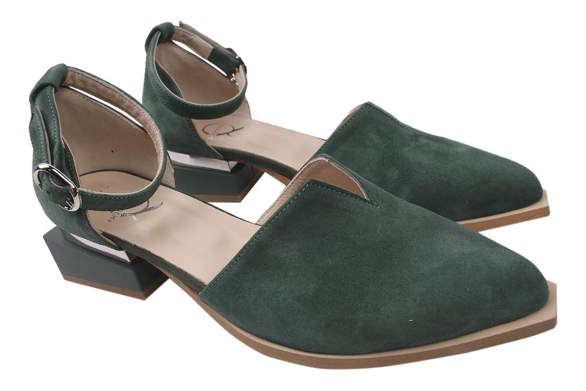 Туфли женские Aquamarin натуральная замша, цвет зеленый, размер 36-40 Турция