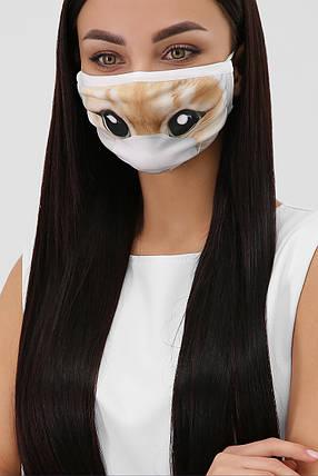Багаторазова захисна тканинна чорна маска для обличчя на гумці, фото 2