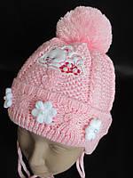 Детские вязанные шапочки с узором., фото 1