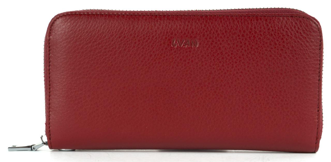 Стильний оригінальний жіночий шкіряний гаманець барсетка високої якості LVAN art. 06-225 бордовий
