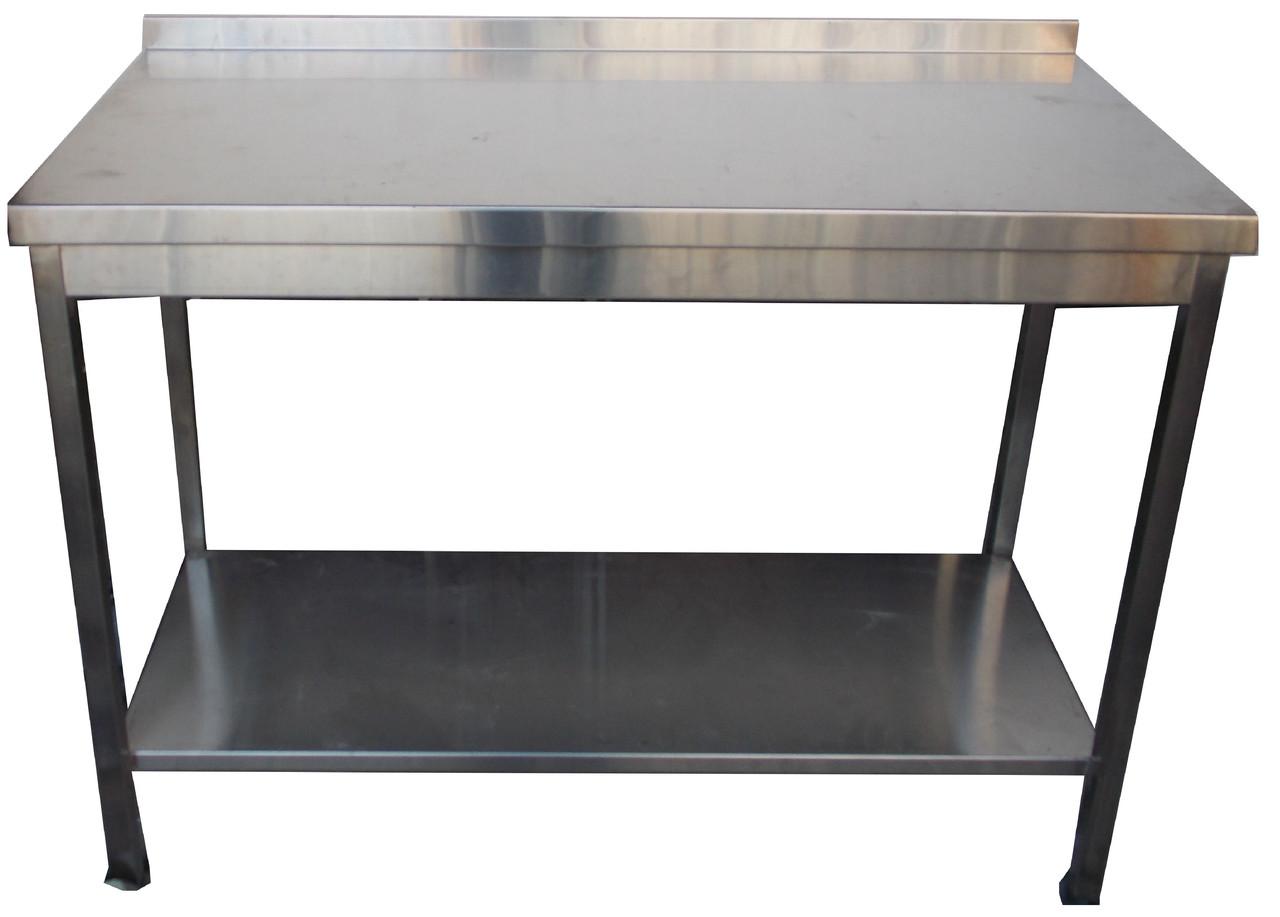 Производственный стол из нержавеющей стали с нижней полкой 1300, 600, AISI 430