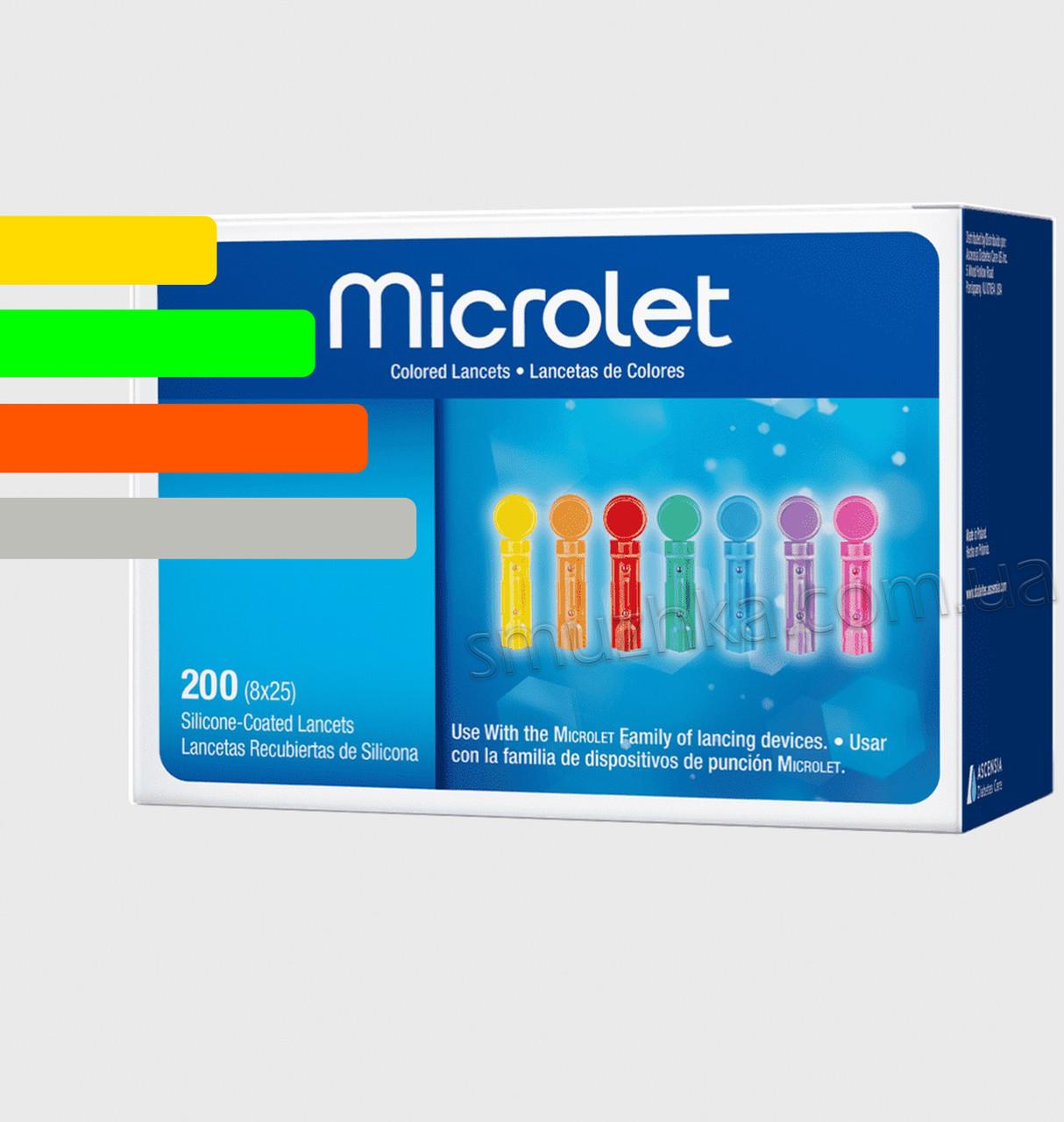 Ланцети Microlet 200 шт. Микролет для Контур ТЗ і Контур Плюс