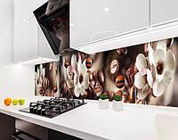 Кухонный фартук с цветами магнолии и кофем на самоклейке или ПВХ панель 60 x 200 см