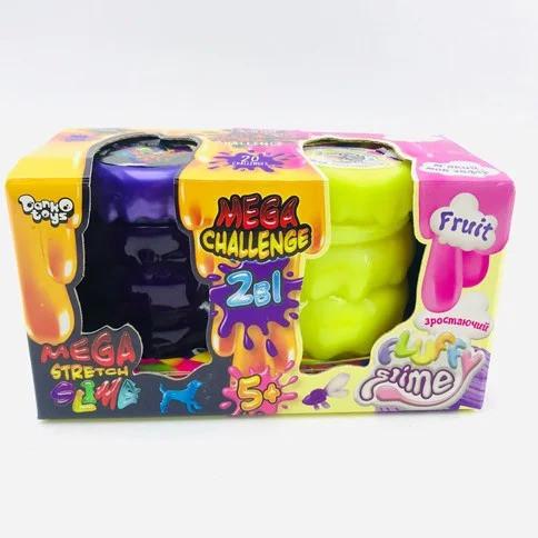 """Вязкая масса """"2 в 1 """"Mega Stretch Slime"""" и """"Fluffy Slime"""" укр. FLS-03-01U"""