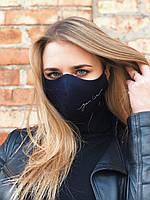 Многоразовая стильная маска RicaMare с авторской вышивкой Go live Темно-синий (RM2809)