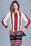 Женская белая вязаная вышиванка с коротким рукавом