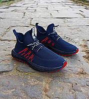 Синие мужские кроссовки носки в стиле Adidas yeezy boost v2 носки на подошве ткань текстиль сетка