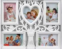 Рамка коллаж Love на 5 фото, белая.