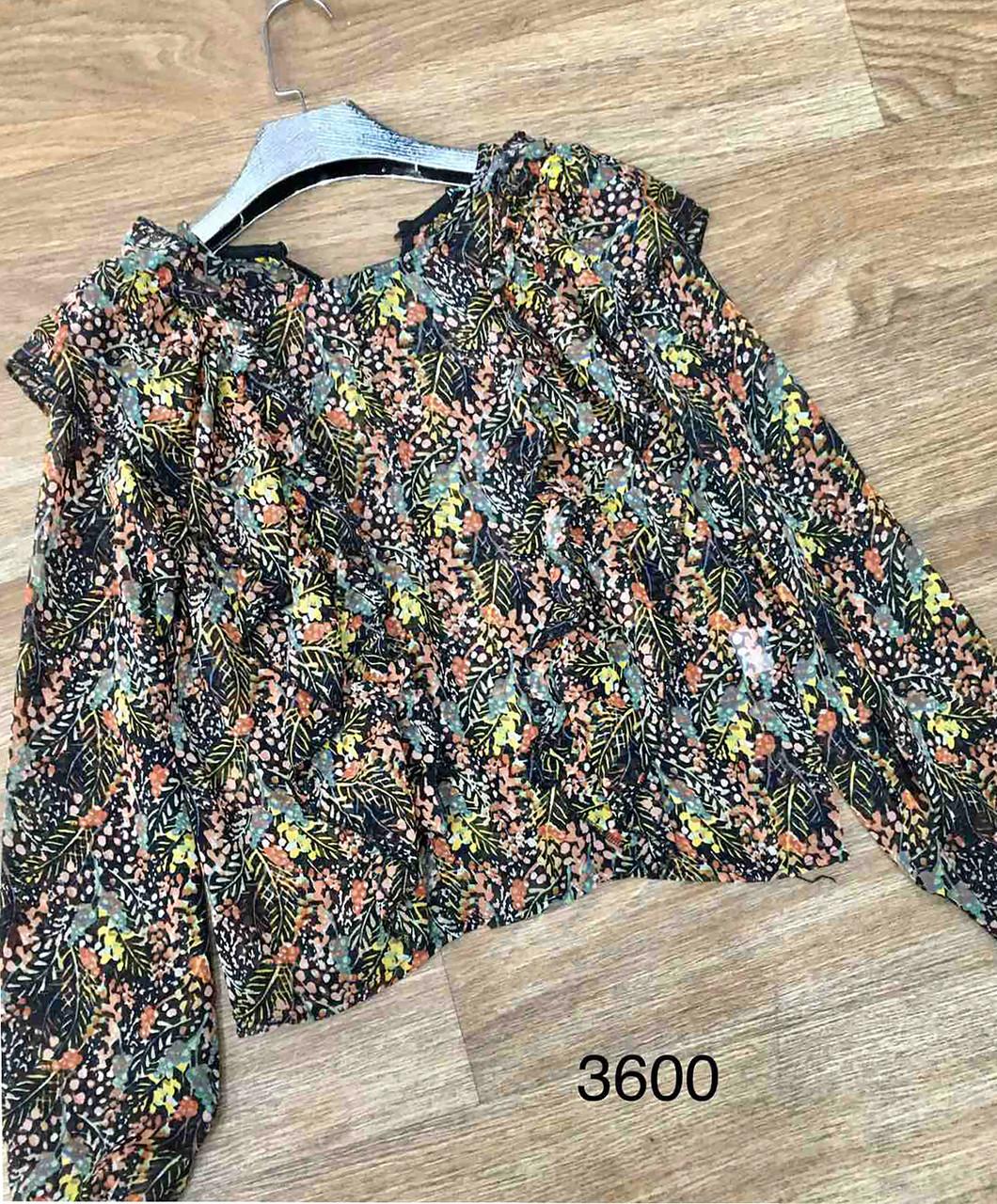 Красивая шифоновая блузка с длинным рукавом (42-46)