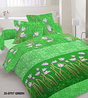 Комплект постельного белья TM Nostra Бязь Эконом зеленый тюльпаны Двуспальный евро комплект