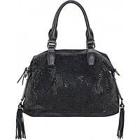 Качественная женская сумка из эко-кожи и натуральной замши со стразами в тон сумки