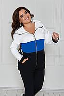 Спортивный костюм женский большого размера So StyleM трикотажный Черный с белым