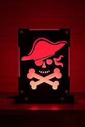 Декоративный настольный ночник Пират, теневой светильник, несколько подсветок (батарейка+220В)
