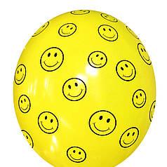 "3014 Шар 12"" (30 см) Смайлики на желтом (BelBal)"