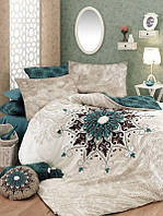 Комплект постельного белья евро Орнамент (бежевое) Pretty (ранфорс)