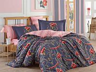 Комплект постельного белья двуспальный Вензель с цветами (темное) Pretty (ранфорс)