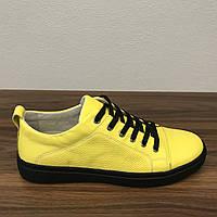 Мужские Кеды Желтые Кожаные, фото 1