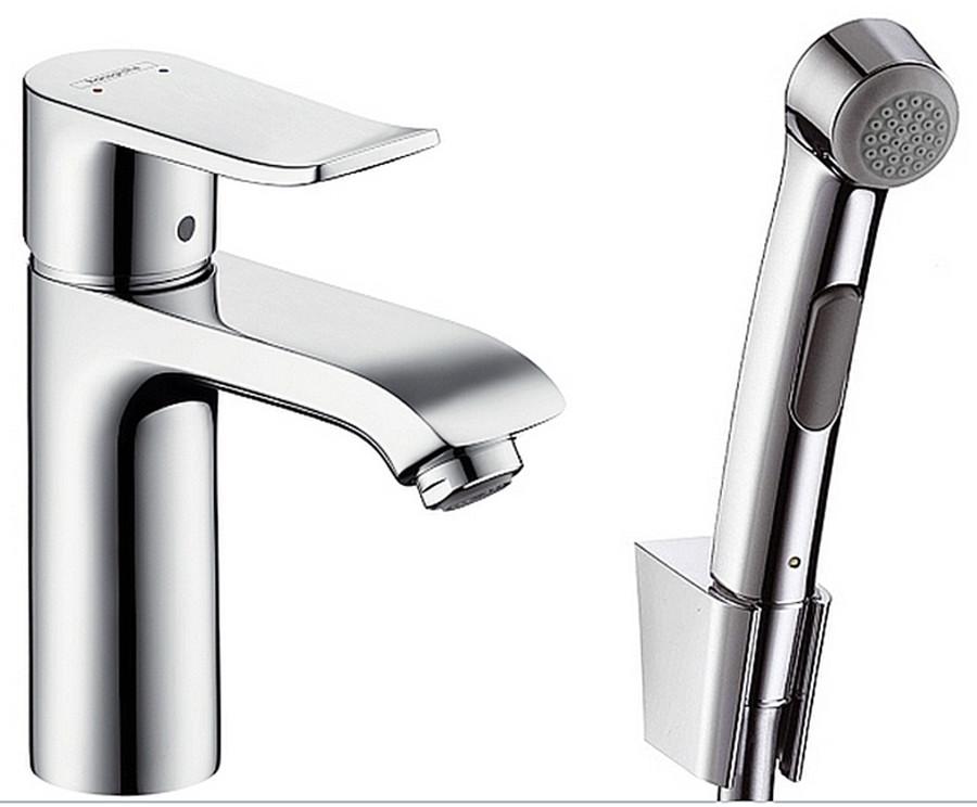 Смеситель для умывальника Hansgrohe Metris 100 с гигиеническим душем - 31285000