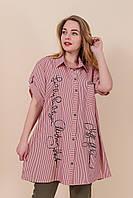 Летняя легкая женская удлиненная рубашка большого размера розовый. Размеры 54, 56, 58, 60.  Хмельницкий