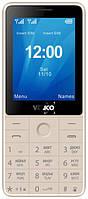 Кнопочный телефон золотистый с камерой и мощной батареей на 2 сим карты Verico Qin S282 Gold