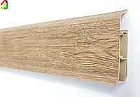 Плинтус Идеал Система 211 Дуб Рустик 80мм пластиковый для пола, IDEAL высокий с мягкими краями