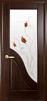 Межкомнатные двери Новый Стиль Амата Р1 (со стеклом сатин) 2000х700 Каштан