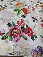 Льняная ткань для постельного белья с цветочным рисунком (шир. 220 см), фото 1