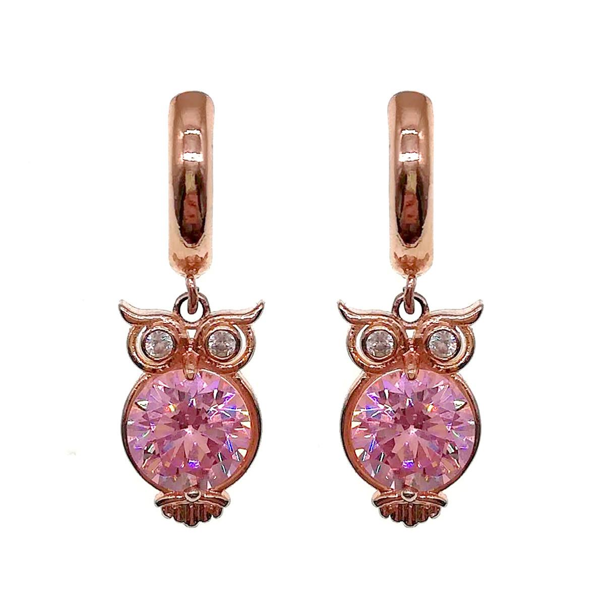 Сережки SONATA з медичного золота, рожеві фіаніти, позолота PO, 23744 (1)