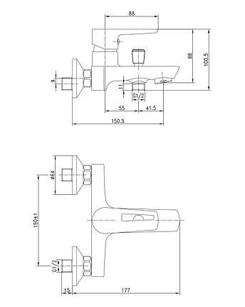 Змішувач для душу Imprese Breclav 15245 хром, фото 2