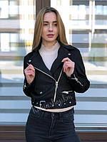 Весенняя женская черная куртка косуха замш